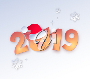 Vector cut paper art style illustration of gold colored 2019 New Year numbers lettering with cute piggy face in Santa hat.