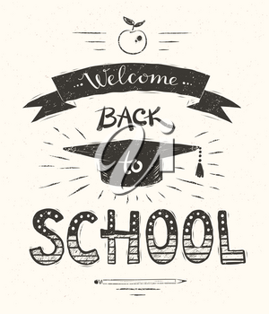 Vector illustration of Welcome Back to School lettering poster with graduation hat.