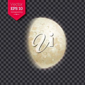 Vector illustration of growing moon phase on transparency background.