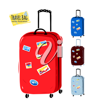 Collection of vector illustrations of travel bags with stickers.