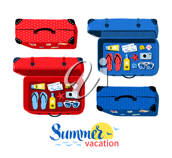 Vector top view collection of summer vacation suitcases, closed and opened with  accessories.