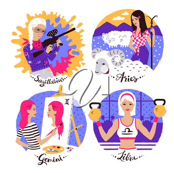 Collection of Zodiac signs illustrations set with female characters.