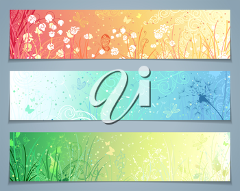 Three templates for your design. Dandelion, flowers, grass, butterflies in pastel colours. There are places for your text.