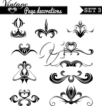 Hand-drawn retro design elements isolated on white background.