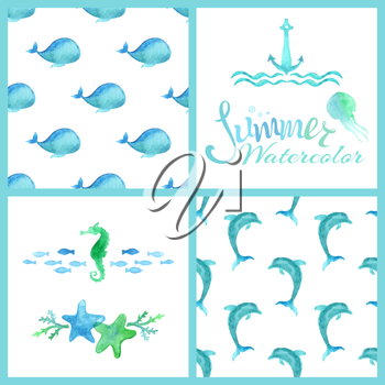 Summer lettering, blue watercolor whales and dolphins, sea horse, jellyfish, starfish, algae, anchor and waves isolated on white background.