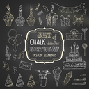Vector chalk garlands and balloons, music notes, gift boxes, party blowouts, cakes and candies, birthday pie, party hats and other doodles design elements on blackboard background.
