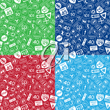 Vector doodles traffic signs red, green and blue backgrounds. Boundless texture can be used for web page backgrounds, wallpapers, wrapping papers, invitation, congratulations and children designs.