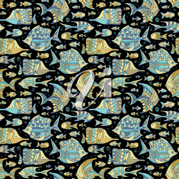 Various fishes on black background. Boundless background can be used for web page backgrounds, wallpapers, wrapping papers and invitations.