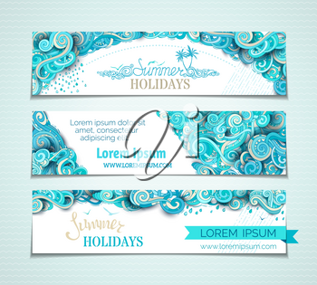 Hand-drawn ornate clouds, curls, swirls and spirals. There is copy space for your text on white background. Summer templates.