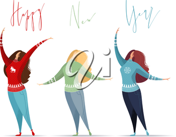 Flat illustration of women in jeans and red, blue, green Christmas sweaters on white background. Hand-written lettering. Vector card template.
