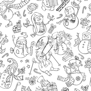 Black outlined snowmen on white background. Snowmen are singing, skating, skiing. Candy canes, gift boxes, Christmas baubles, birds, garland, stars.