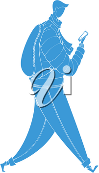 The guy dressed in outerwear. Vector outdoor illustration. Blue silhouette isolated on white background.