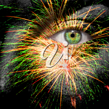 Fireworks painted on mans face for festivities
