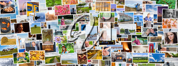 Collage of images of a persons life in an exact social media banner size