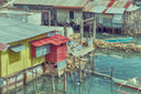 blur  philippines house in the  slum  for poor people concept of poverty and degradations