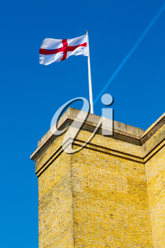 english flag in the wall and sky