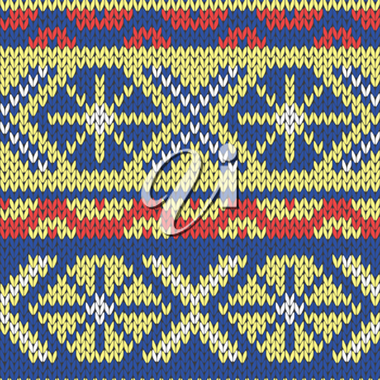 Abstract Ornamental Seamless Vector Pattern as a stylish Fabric Knitted ethnic texture in blue, yellow and red hues