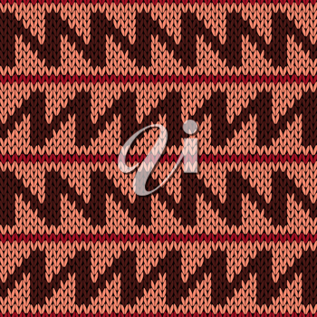 Abstract knitting ornamental seamless vector pattern with zigzag lines as a knitted fabric texture in warm colors