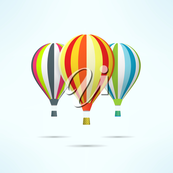 Colorful hot air balloons isolated on white. Discovery and travel concept.