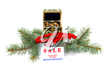 fir-tree branch, casket with forest nutlets and an inscription about Christmas sale, winter, the subject Christmas and New Year