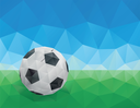 Classic Soccer Ball, Green Grass and Blue Sky. Low Poly Vector Art.