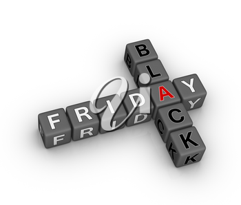 black friday 3d crossword puzzle (design element for christmass sales)