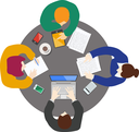 Flat style office worker business management on the round table in top view vector illustration