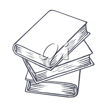 Stack of books sketch. Hand drawn books. Vector illustration