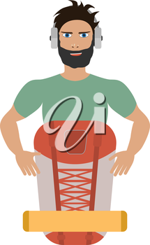 A vector illustration of a man traveling and hiking