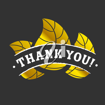 Golden Thank you badge with leaves on black background