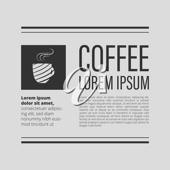 Cafe coffee banner on gray background