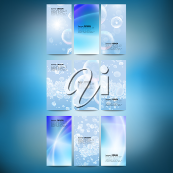 Set of vertical banners. Drops in the blue water vector background. Modern banners, abstract banner design, business design and website templates vector.