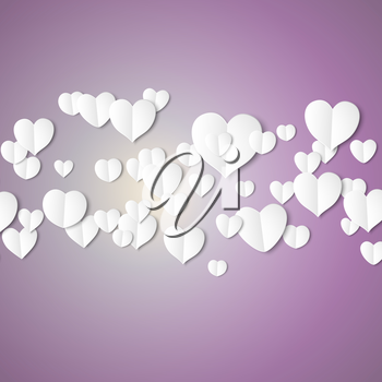 White paper hearts, Valentines day card on violet background, vector illustration.