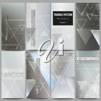 Set of modern vector flyers. Abstract blurred vector background with triangles, lines and dots.