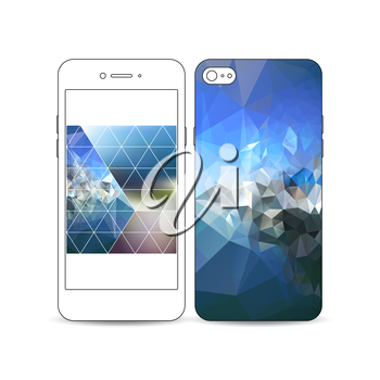 Mobile smartphone with an example of the screen and cover design isolated on white background. Abstract colorful polygonal background with blurred image on it, modern stylish triangle vector texture.