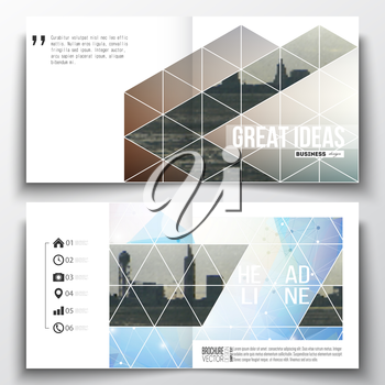 Set of annual report business templates for brochure, magazine, flyer or booklet. Abstract colorful polygonal backdrop with blurred image, modern stylish triangular vector texture.