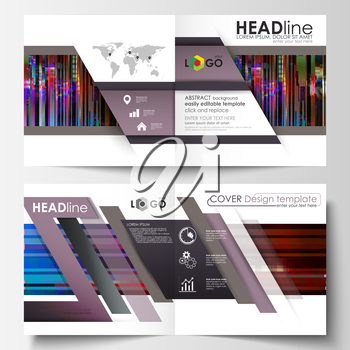 Business templates for square design bi fold brochure, magazine, flyer. Leaflet cover, abstract vector layout. Glitched background made of colorful pixel mosaic. Digital decay, signal error, televisio