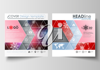 Business templates for square design brochure, magazine, flyer, booklet or annual report. Leaflet cover, abstract flat layout, easy editable blank. Christmas decoration, vector background with shiny s