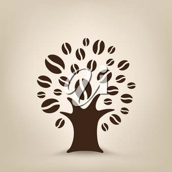 The coffee tree silhouette on the light brown mesh background