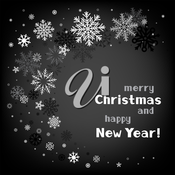 Black and white snow swirl background with a congratulatory text message
