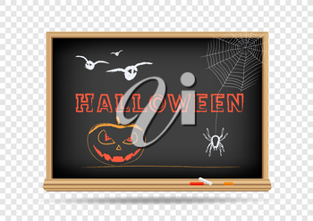 School blackboard draw Halloween Holidays on transparent background. Classroom chalkboard drawing with shadow
