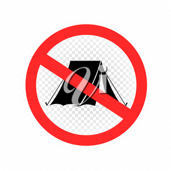 No camping sign icon on white transparent background. Forbidden camp tent set symbol