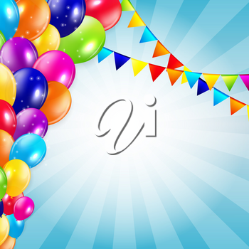 Colored Balloons Background, Vector Illustration.  EPS 10