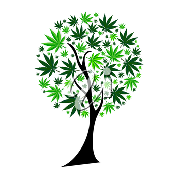 Abstract Cannabis Tree Background Vector Illustration EPS10