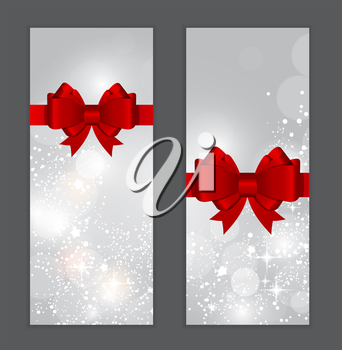 Abstract Glossy Star Background with Bow and Ribbon Vector Illustration EPS10
