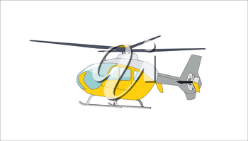Helicopter in Flight. Isolated Vector Illustration. EPS10