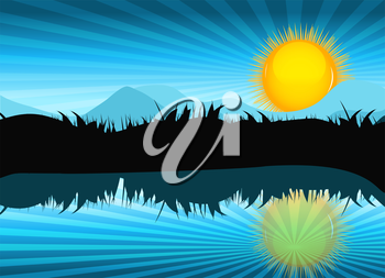 Nature Landscape with Reflection in Water. Vector llustration. EPS10