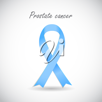Prostate Cancer Awareness Blue Ribbon Vector Illustration EPS10