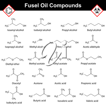 Organic compounds of fusel oil, structural chemical molecular formulas, alcohol  distillation substances, 2d vector isolated on white background, eps 8