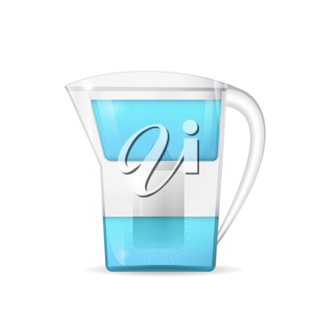 Water filtration jug, household equipment, 3d vector, eps 10
